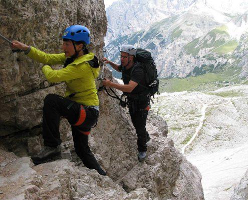 Klettern auf dem Innerkofel De Luca-Steig, Sextner Dolomiten