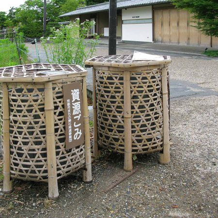 Public trash can made of bamboo