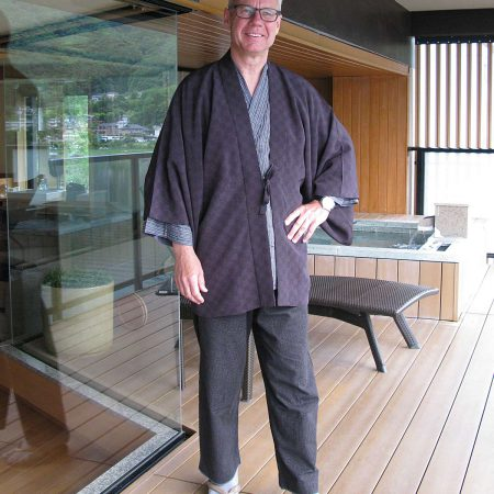 Win dressed up with a Jinbei, a traditional home wear for him