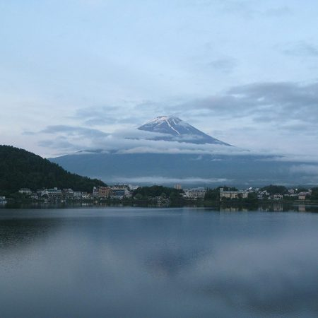 Mount Fuji covered in clouds at 5 o'clock in the morning