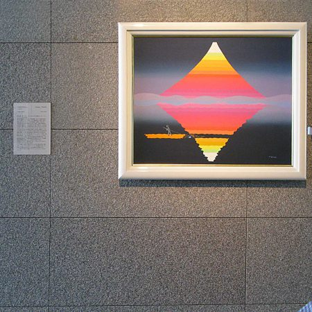 Colorful painting of Fujisan with subtle reflection