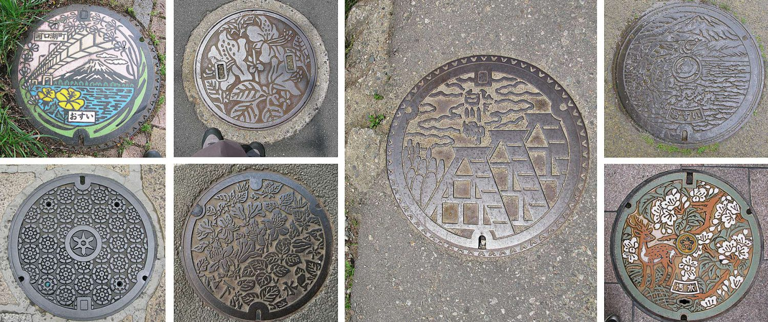 Aesthetically designed gully covers in Japan