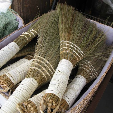 Traditional Japanese hand brooms made from rice straw