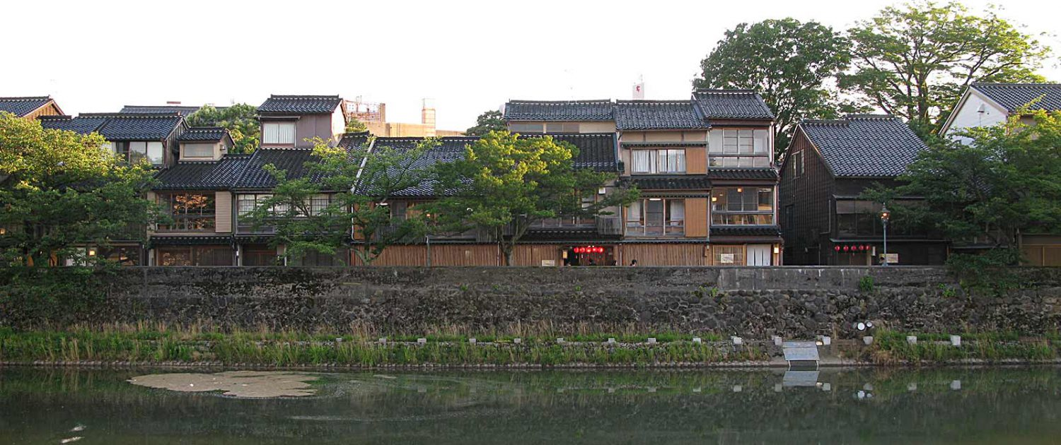 Like pearls on a necklace tiny restaurants string together at river Asanogawa in Kanazawa