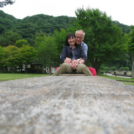 Petra and Win in the garden of the Museum of Art Kawaguchiko