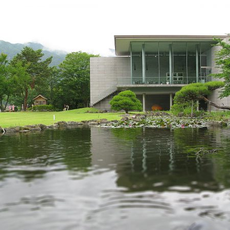 Museum of Art in Kawaguchiko with a pond