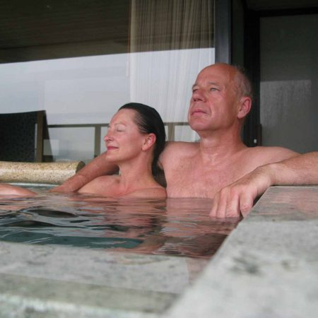 Having a bath in our private onsen