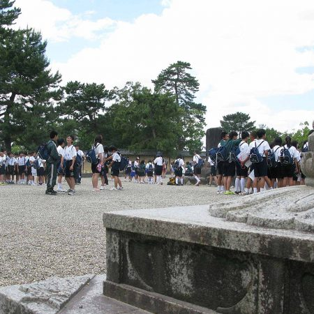 School classes at a temple complex in Nara