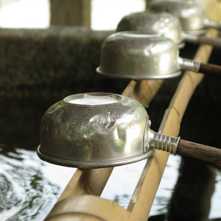 Ladles for ritual cleansing at the Shintō Shrine
