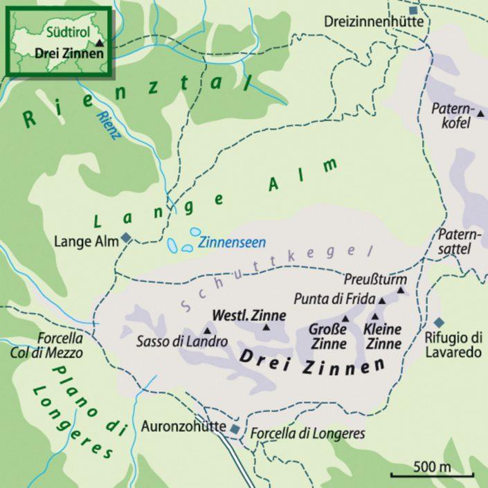 Map Drei Zinnen Dolomiten