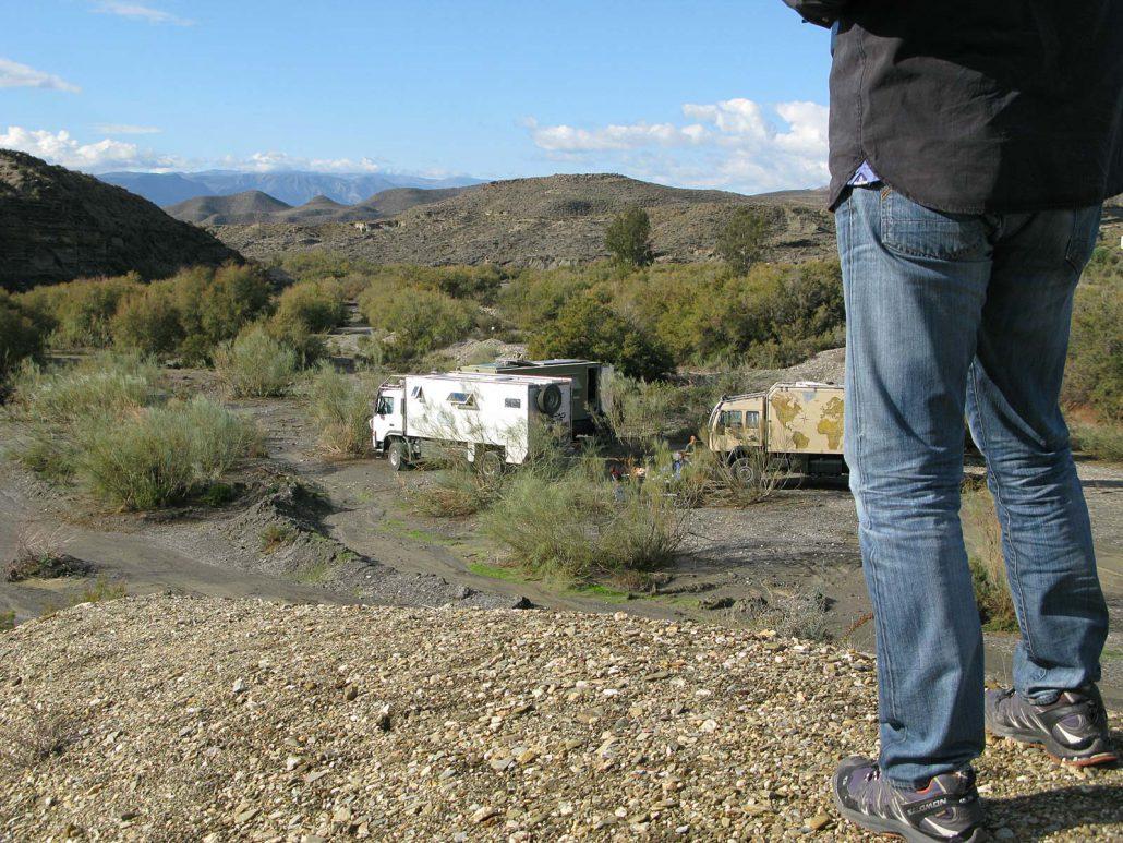 Blick auf unser Camp im trockenen Flussbett
