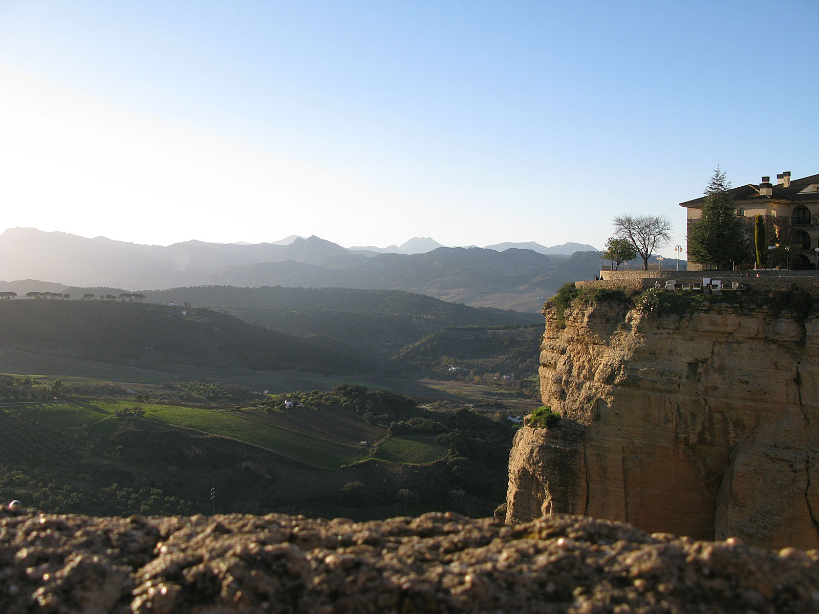 View over the winter scenery of Ronda