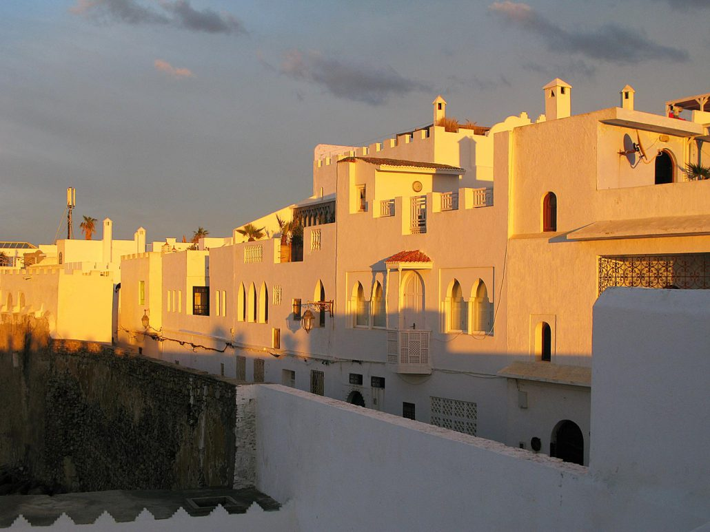 View of Asilah in the late evening sunlight