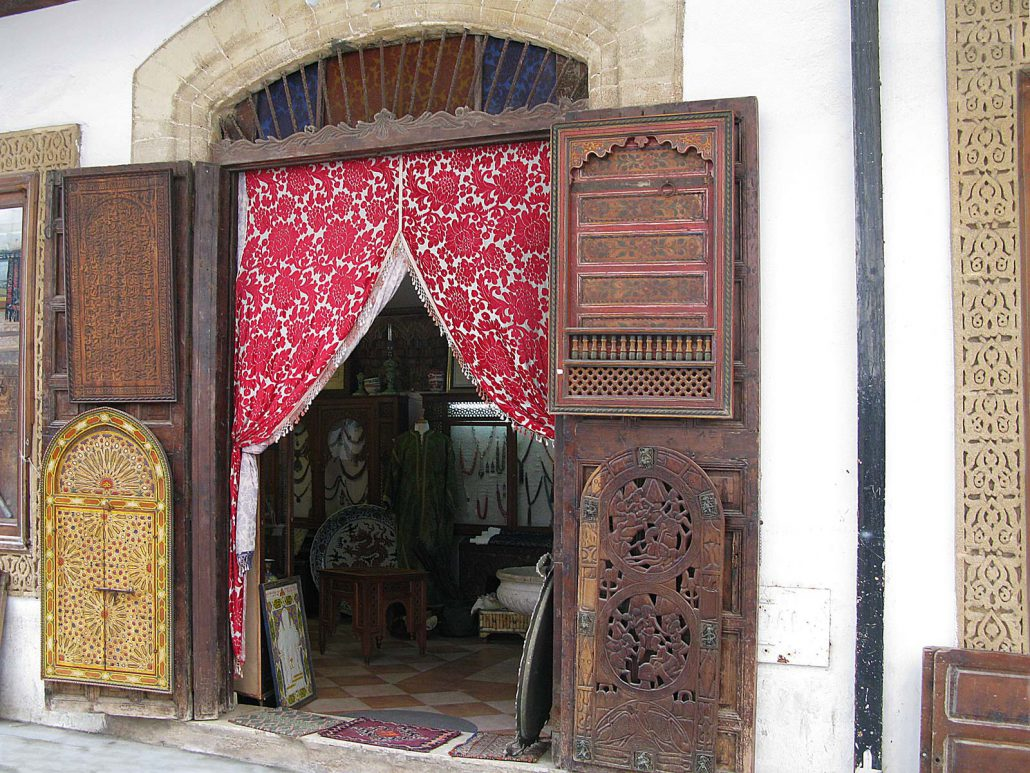 Entrance of a curiosity shop in Rabat the capital of Morocco
