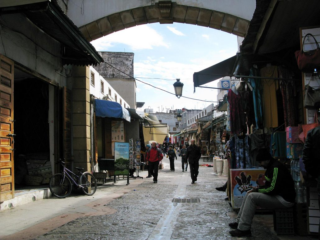 Alley in the souk of Rabat in Morocco