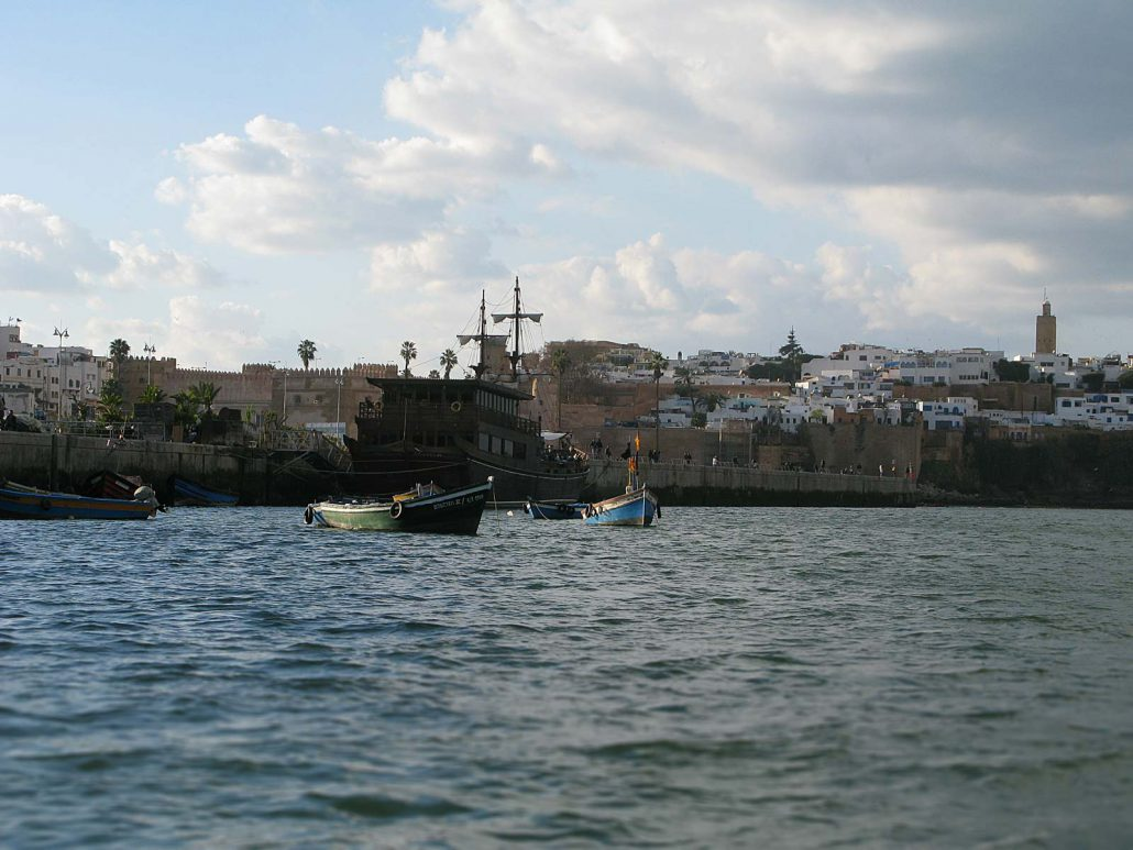 Boats on the river Bou Regreg between Rabat and Salé