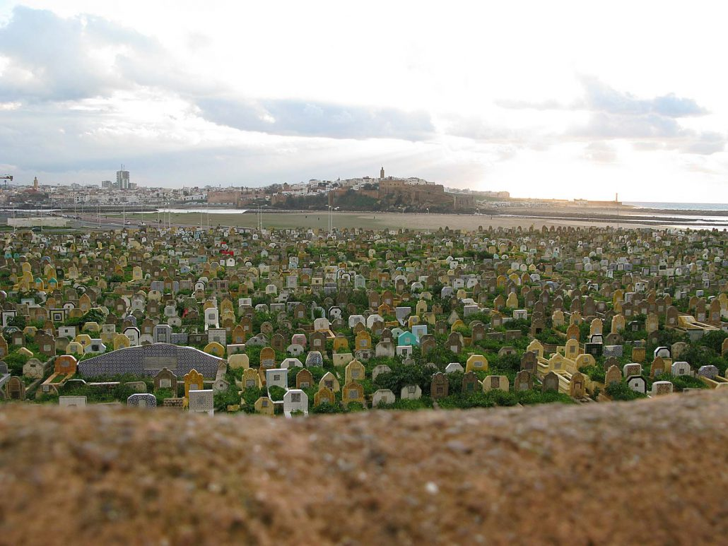 View over the cemetery of Salé in Morocco