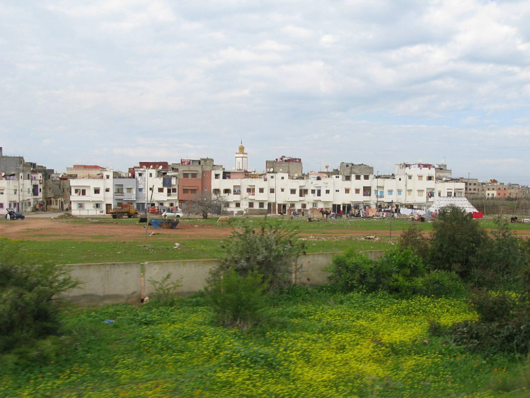 Residential district along the freeway in Morocco
