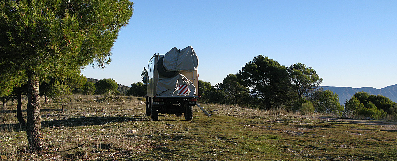 A camper in a forest area around Nieves in Andalusia