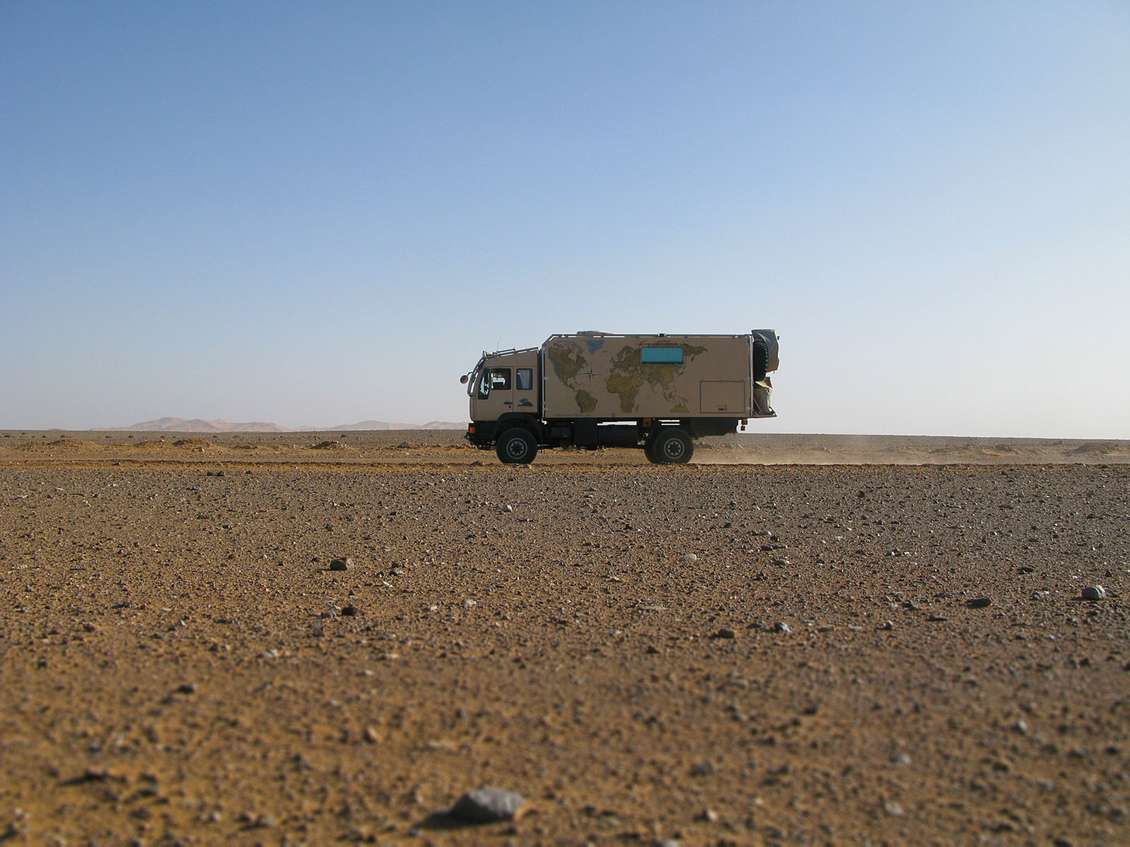 Truck in the desert of Erg Chegaga