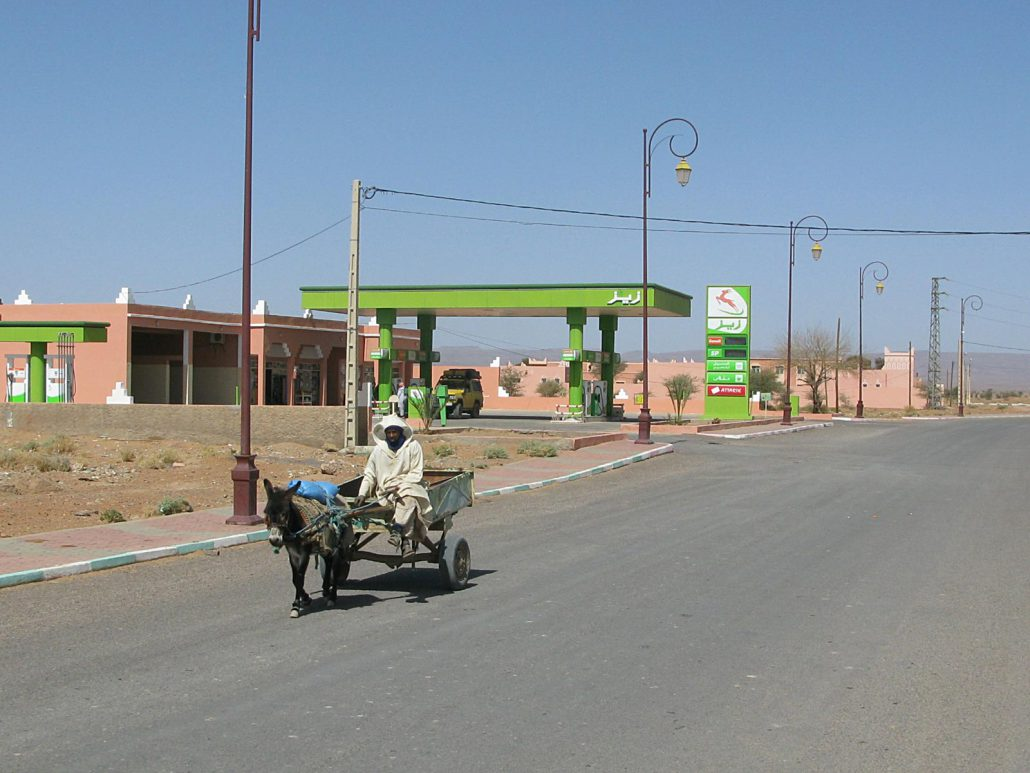 Donkey cart on the main road of Main road of Zagora