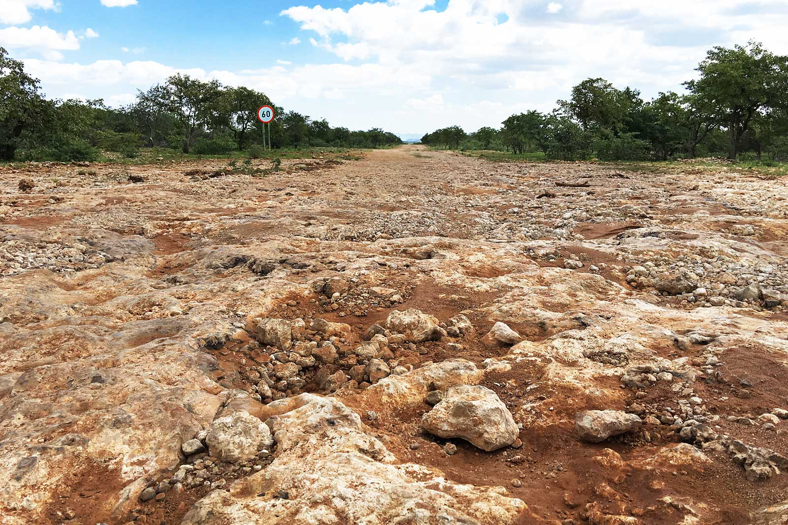 The rough road conditions in Namibia
