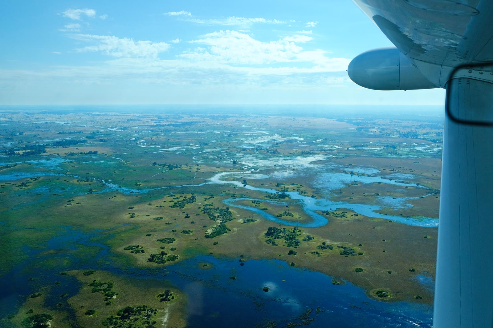 With an aircraft over Okavango Delta